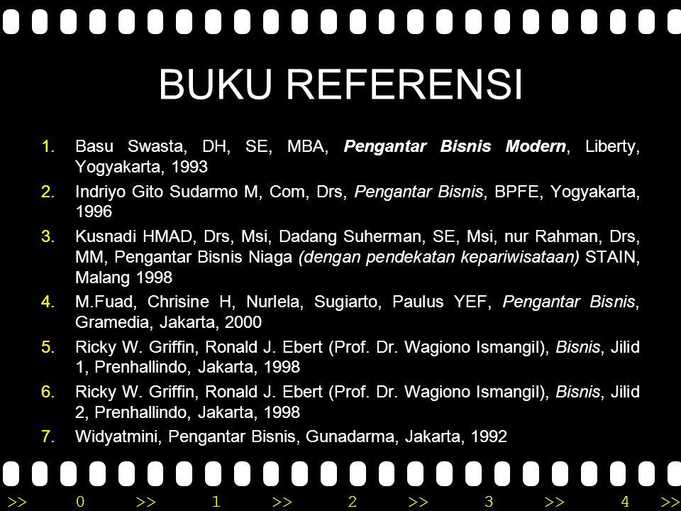 >>0 >>1 >> 2 >> 3 >> 4 >> BUKU REFERENSI 1.Basu Swasta, DH, SE, MBA, Pengantar Bisnis Modern, Liberty, Yogyakarta, 1993 2.Indriyo Gito Sudarmo M, Com, Drs, Pengantar Bisnis, BPFE, Yogyakarta, 1996 3.Kusnadi HMAD, Drs, Msi, Dadang Suherman, SE, Msi, nur Rahman, Drs, MM, Pengantar Bisnis Niaga (dengan pendekatan kepariwisataan) STAIN, Malang 1998 4.M.Fuad, Chrisine H, Nurlela, Sugiarto, Paulus YEF, Pengantar Bisnis, Gramedia, Jakarta, 2000 5.Ricky W.