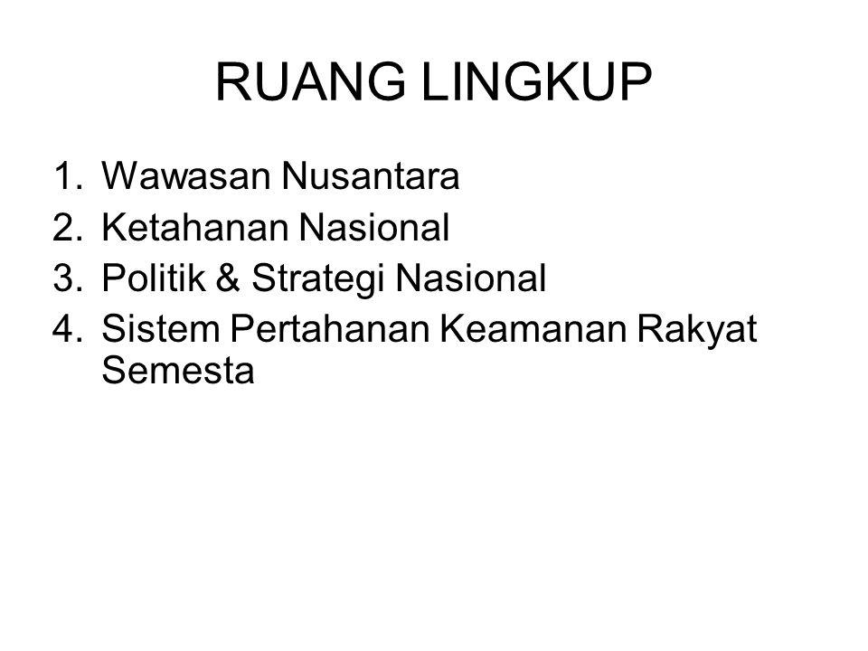 RUANG LINGKUP 1.Wawasan Nusantara 2.Ketahanan Nasional 3.Politik & Strategi Nasional 4.Sistem Pertahanan Keamanan Rakyat Semesta