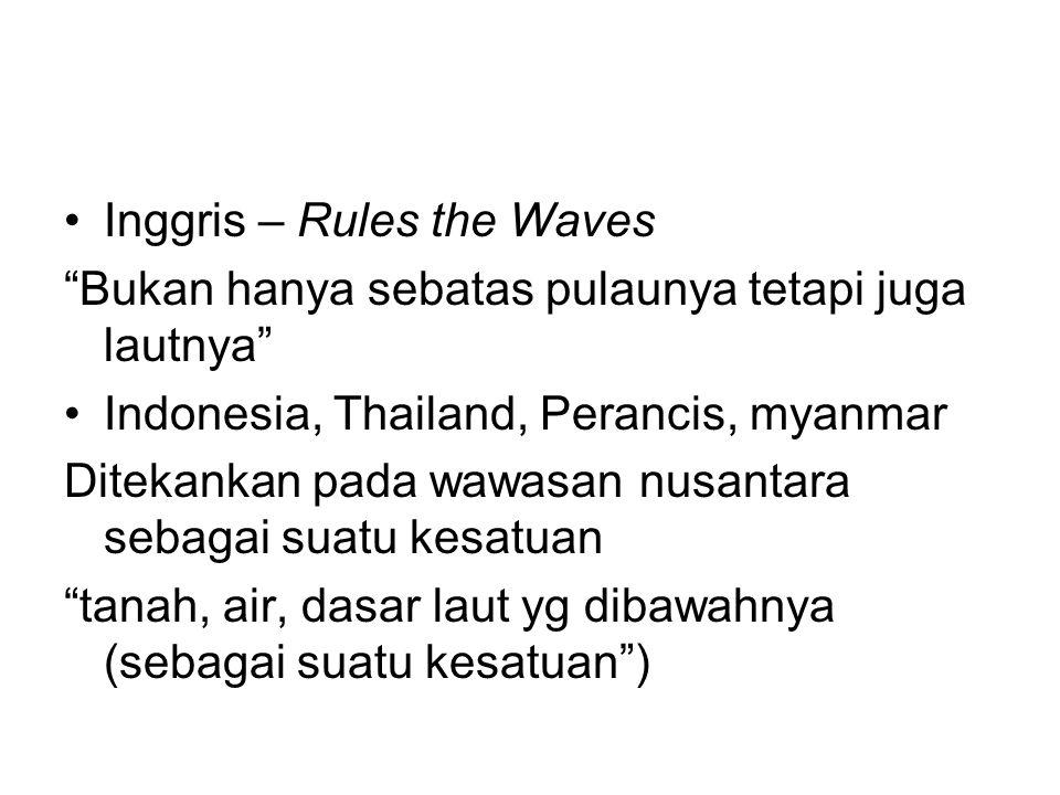 """Inggris – Rules the Waves """"Bukan hanya sebatas pulaunya tetapi juga lautnya"""" Indonesia, Thailand, Perancis, myanmar Ditekankan pada wawasan nusantara"""