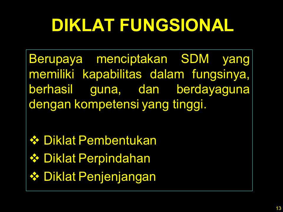 12 1.Diklat Prajabatan 2.Diklat dalam jabatan :  Diklat Kepemimpinan  Diklat Fungsional  Diklat Teknis DIKLAT PNS terdiri :