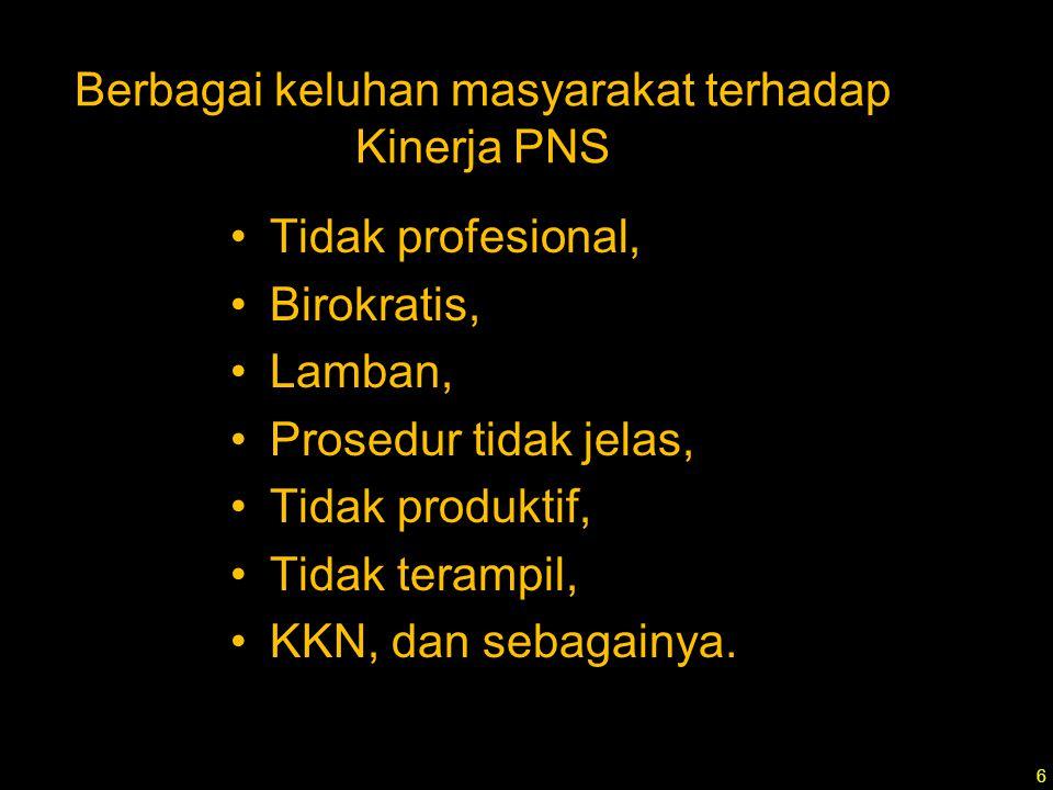 Berbagai keluhan masyarakat terhadap Kinerja PNS Tidak profesional, Birokratis, Lamban, Prosedur tidak jelas, Tidak produktif, Tidak terampil, KKN, dan sebagainya.