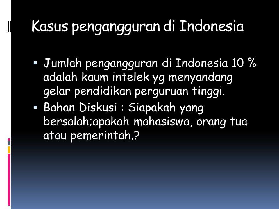 Kasus pengangguran di Indonesia  Jumlah pengangguran di Indonesia 10 % adalah kaum intelek yg menyandang gelar pendidikan perguruan tinggi.