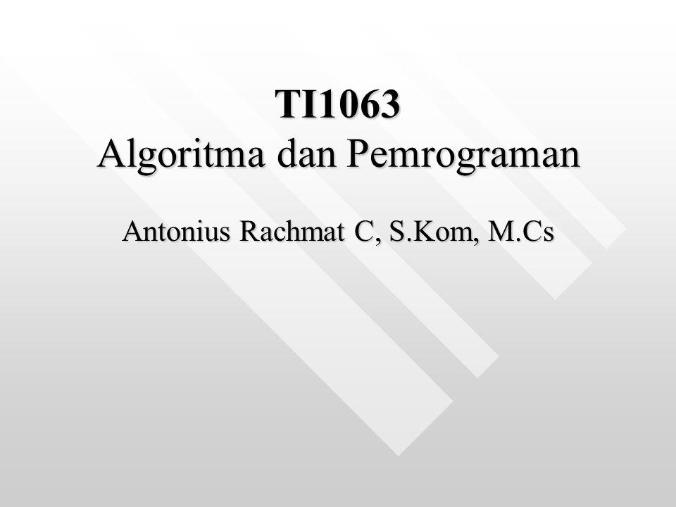 Algoritma & Pemrograman SKS: 3 SKSSKS: 3 SKS Dosen: Antonius Rachmat C, S.Kom, M.CsDosen: Antonius Rachmat C, S.Kom, M.Cs Email: anton@ti.ukdw.ac.idEmail: anton@ti.ukdw.ac.idanton@ti.ukdw.ac.idanton@ti.ukdw.ac.id Website: http://lecturer.ukdw.ac.id/antonWebsite: http://lecturer.ukdw.ac.id/antonhttp://lecturer.ukdw.ac.id/anton E-Class: http://www.ukdw.ac.id/e-class/idE-Class: http://www.ukdw.ac.id/e-class/idhttp://www.ukdw.ac.id/e-class/idhttp://www.ukdw.ac.id/e-class/id YM: antonie_ooYM: antonie_oo Jadwal Kuliah Kelas:Jadwal Kuliah Kelas: Group A: Selasa, 13.30Group A: Selasa, 13.30