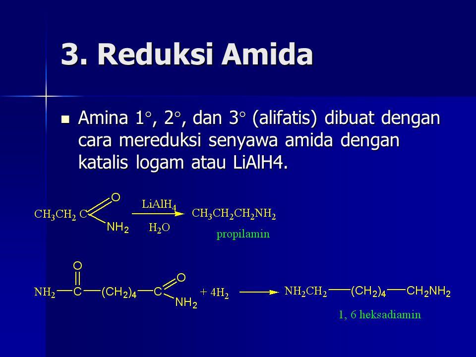 3. Reduksi Amida Amina 1 , 2 , dan 3  (alifatis) dibuat dengan cara mereduksi senyawa amida dengan katalis logam atau LiAlH4. Amina 1 , 2 , dan 3