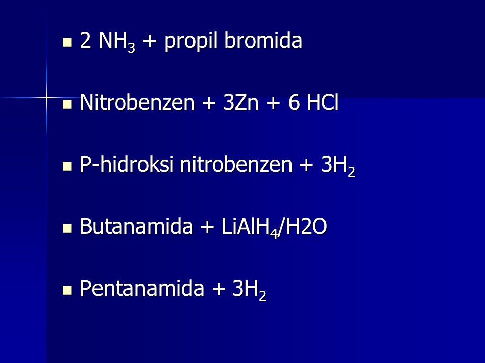 2 NH 3 + propil bromida 2 NH 3 + propil bromida Nitrobenzen + 3Zn + 6 HCl Nitrobenzen + 3Zn + 6 HCl P-hidroksi nitrobenzen + 3H 2 P-hidroksi nitrobenz