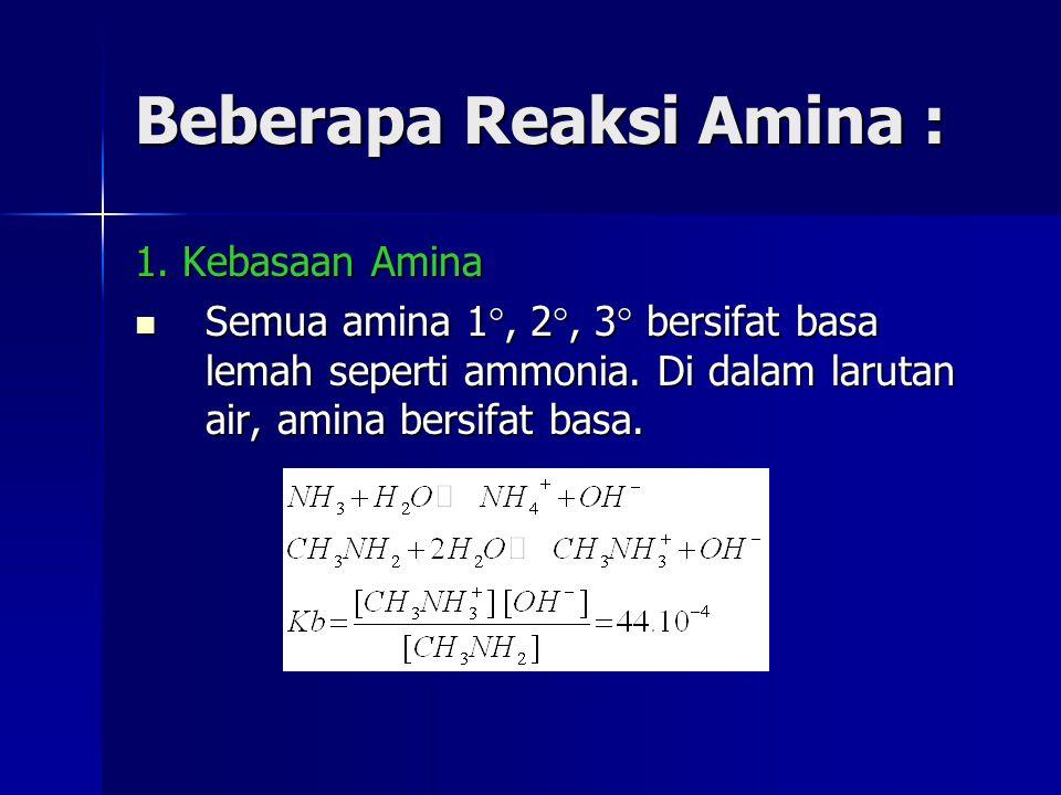 Beberapa Reaksi Amina : 1. Kebasaan Amina Semua amina 1 , 2 , 3  bersifat basa lemah seperti ammonia. Di dalam larutan air, amina bersifat basa. Se
