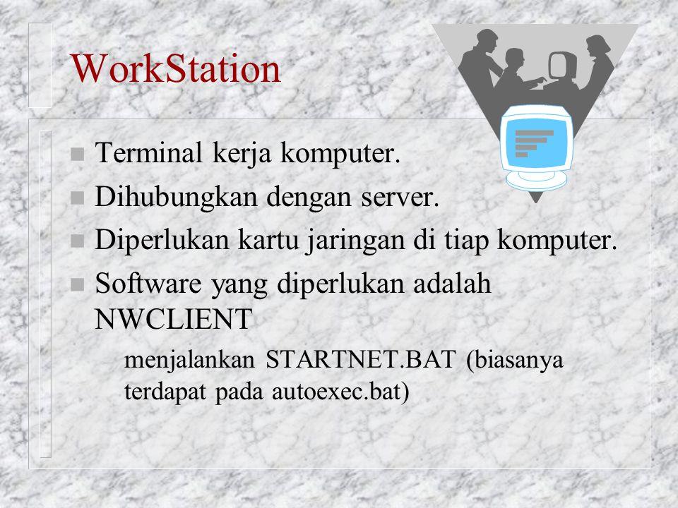 WorkStation n Terminal kerja komputer. n Dihubungkan dengan server. n Diperlukan kartu jaringan di tiap komputer. n Software yang diperlukan adalah NW