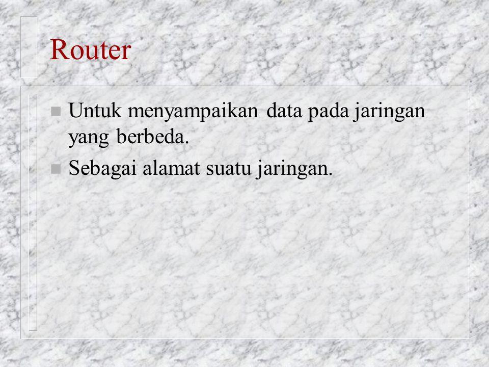 Router n Untuk menyampaikan data pada jaringan yang berbeda. n Sebagai alamat suatu jaringan.