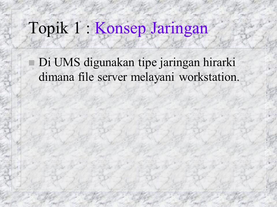Topik 1 : Konsep Jaringan n Di UMS digunakan tipe jaringan hirarki dimana file server melayani workstation.