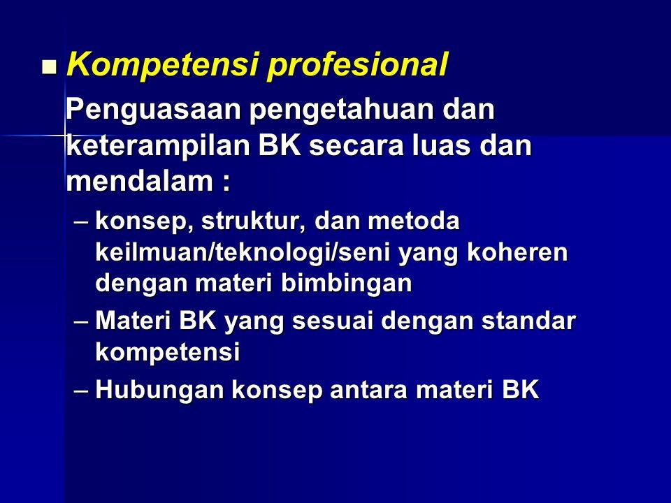 Kompetensi profesional Kompetensi profesional Penguasaan pengetahuan dan keterampilan BK secara luas dan mendalam : Penguasaan pengetahuan dan keterampilan BK secara luas dan mendalam : –konsep, struktur, dan metoda keilmuan/teknologi/seni yang koheren dengan materi bimbingan –Materi BK yang sesuai dengan standar kompetensi –Hubungan konsep antara materi BK