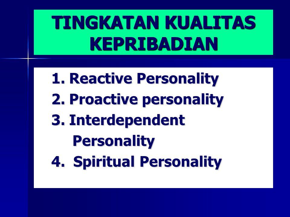 TINGKATAN KUALITAS KEPRIBADIAN 1. Reactive Personality 2.