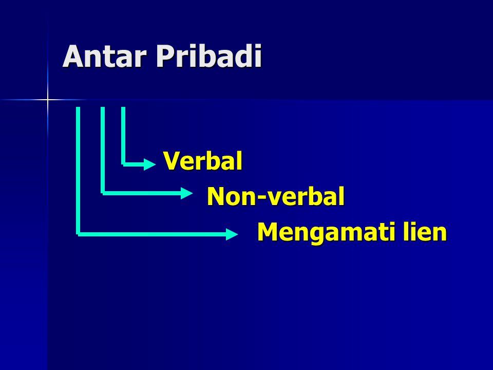 Antar Pribadi Verbal Verbal Non-verbal Non-verbal Mengamati lien Mengamati lien
