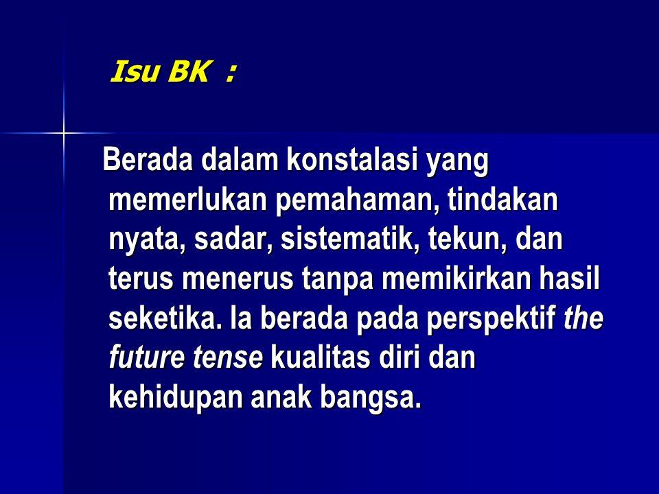 Isu BK : Isu BK : Berada dalam konstalasi yang memerlukan pemahaman, tindakan nyata, sadar, sistematik, tekun, dan terus menerus tanpa memikirkan hasil seketika.
