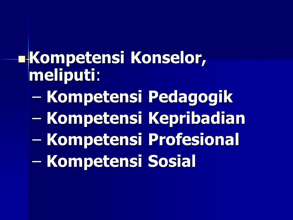 Kompetensi Konselor, meliputi: Kompetensi Konselor, meliputi: – Kompetensi Pedagogik – Kompetensi Kepribadian – Kompetensi Profesional – Kompetensi Sosial