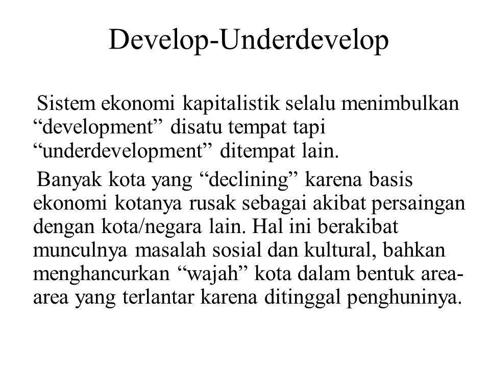 Develop-Underdevelop Sistem ekonomi kapitalistik selalu menimbulkan development disatu tempat tapi underdevelopment ditempat lain.