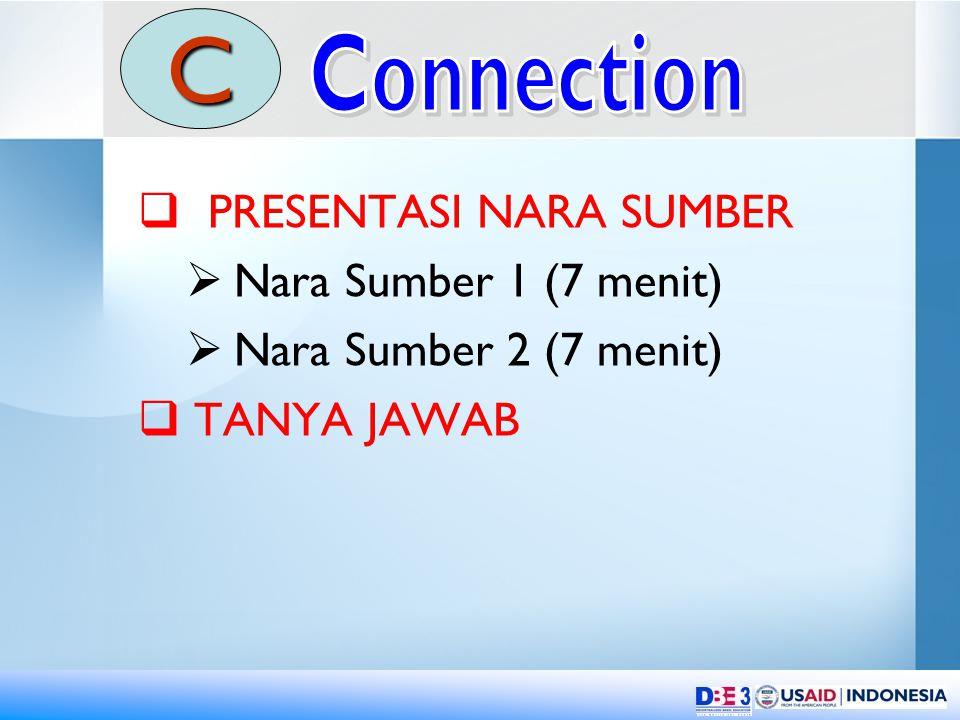  PRESENTASI NARA SUMBER  Nara Sumber 1 (7 menit)  Nara Sumber 2 (7 menit)  TANYA JAWAB C