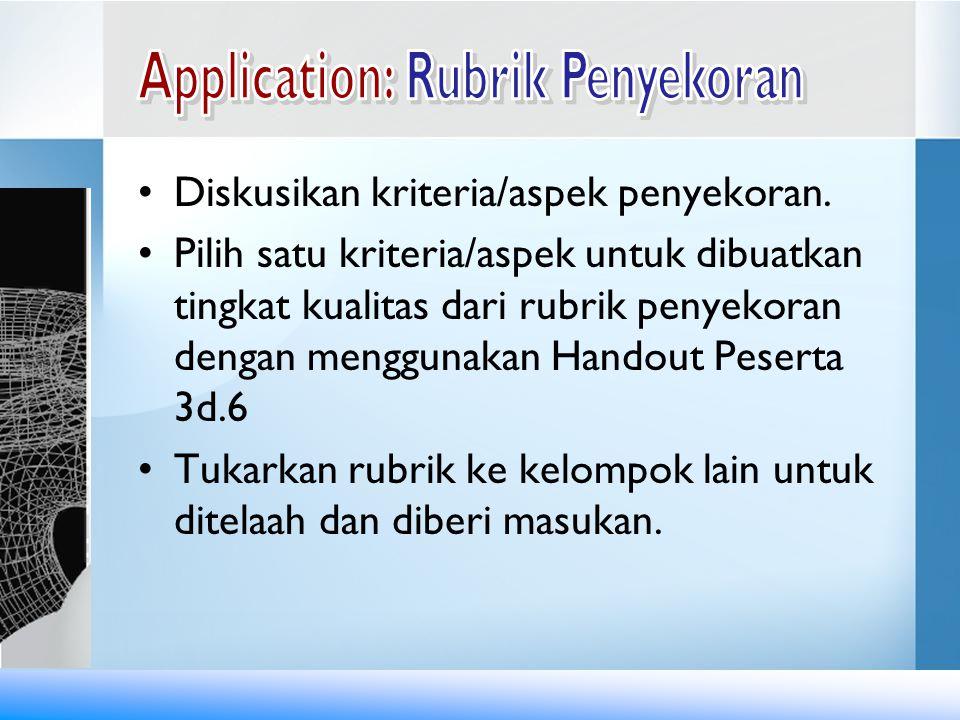 Diskusikan kriteria/aspek penyekoran. Pilih satu kriteria/aspek untuk dibuatkan tingkat kualitas dari rubrik penyekoran dengan menggunakan Handout Pes