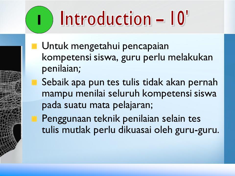 Diskusikan kriteria/aspek penyekoran.