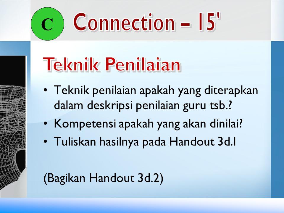 Teknik penilaian apakah yang diterapkan dalam deskripsi penilaian guru tsb.? Kompetensi apakah yang akan dinilai? Tuliskan hasilnya pada Handout 3d.I