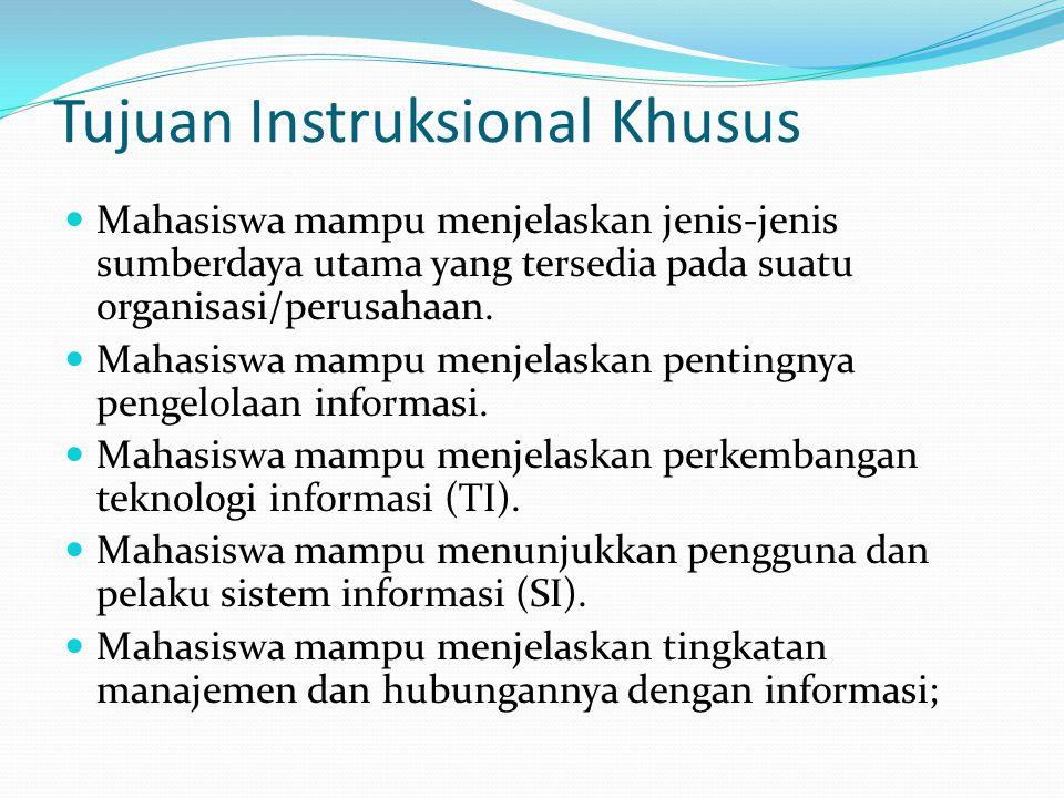 Tujuan Instruksional Khusus Mahasiswa mampu menjelaskan jenis-jenis sumberdaya utama yang tersedia pada suatu organisasi/perusahaan.