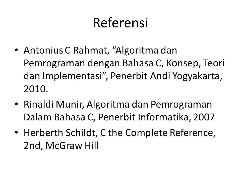 """Referensi Antonius C Rahmat, """"Algoritma dan Pemrograman dengan Bahasa C, Konsep, Teori dan Implementasi"""", Penerbit Andi Yogyakarta, 2010. Rinaldi Muni"""