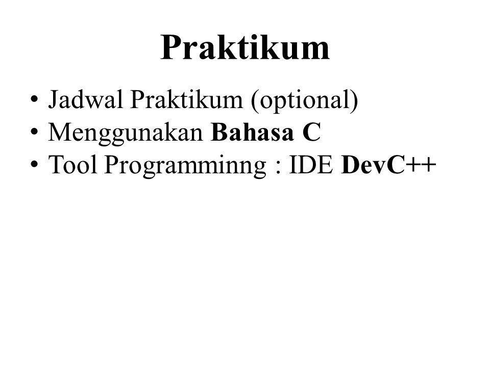 Praktikum Jadwal Praktikum (optional) Menggunakan Bahasa C Tool Programminng : IDE DevC++