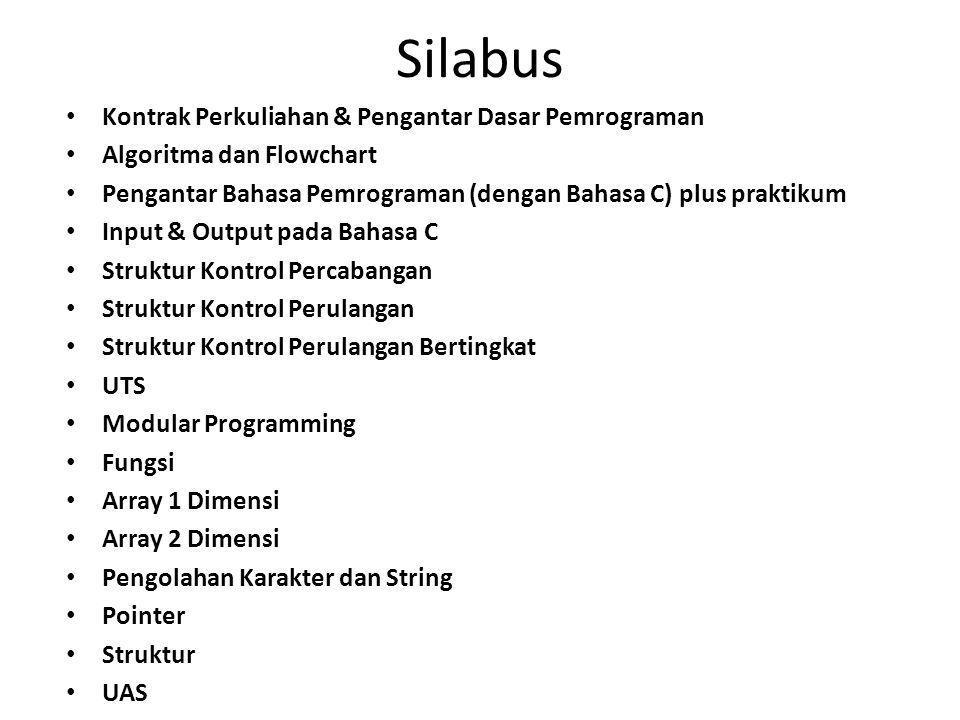 Referensi Antonius C Rahmat, Algoritma dan Pemrograman dengan Bahasa C, Konsep, Teori dan Implementasi , Penerbit Andi Yogyakarta, 2010.