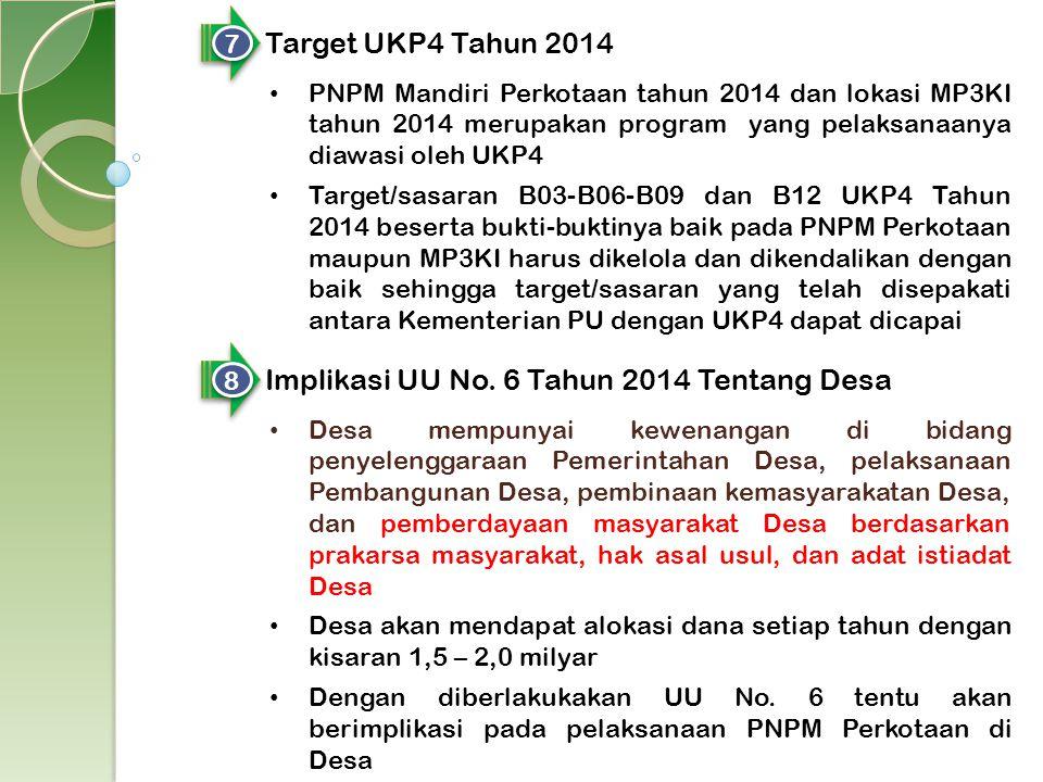 7 7 Target UKP4 Tahun 2014 PNPM Mandiri Perkotaan tahun 2014 dan lokasi MP3KI tahun 2014 merupakan program yang pelaksanaanya diawasi oleh UKP4 Target