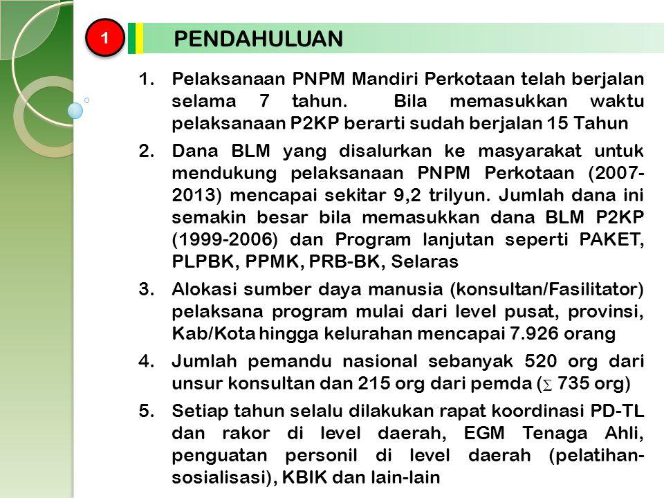 1 1 PENDAHULUAN 1.Pelaksanaan PNPM Mandiri Perkotaan telah berjalan selama 7 tahun. Bila memasukkan waktu pelaksanaan P2KP berarti sudah berjalan 15 T