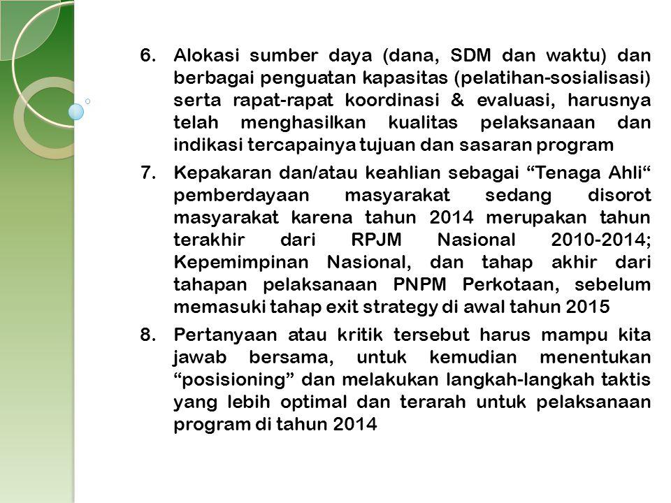 6.Alokasi sumber daya (dana, SDM dan waktu) dan berbagai penguatan kapasitas (pelatihan-sosialisasi) serta rapat-rapat koordinasi & evaluasi, harusnya