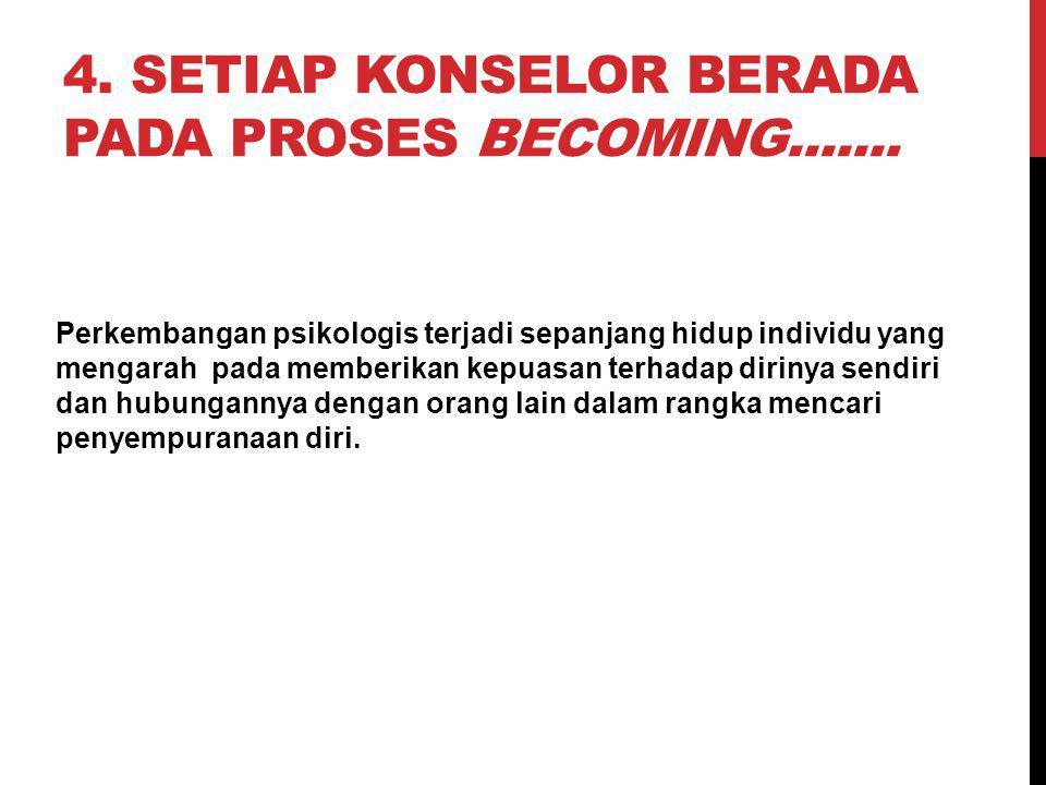 4.SETIAP KONSELOR BERADA PADA PROSES BECOMING.......