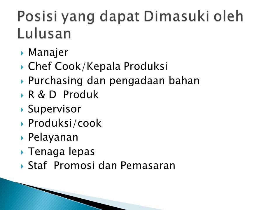  Manajer  Chef Cook/Kepala Produksi  Purchasing dan pengadaan bahan  R & D Produk  Supervisor  Produksi/cook  Pelayanan  Tenaga lepas  Staf P