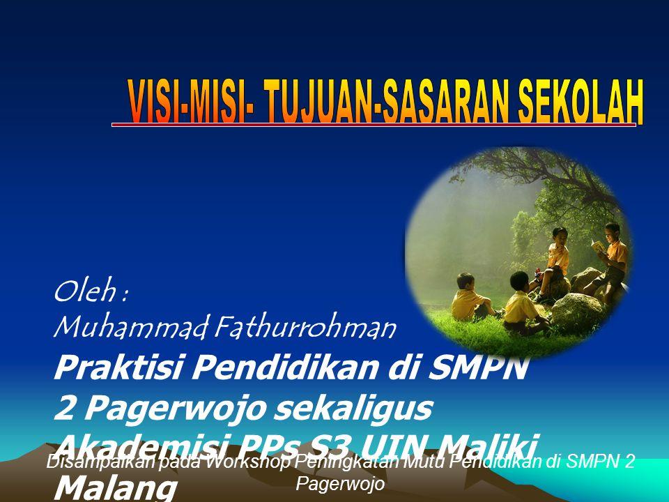 Oleh : Muhammad Fathurrohman Praktisi Pendidikan di SMPN 2 Pagerwojo sekaligus Akademisi PPs S3 UIN Maliki Malang Disampaikan pada Workshop Peningkata