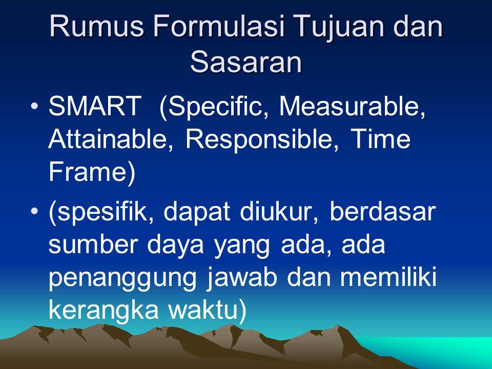 Rumus Formulasi Tujuan dan Sasaran SMART (Specific, Measurable, Attainable, Responsible, Time Frame) (spesifik, dapat diukur, berdasar sumber daya yang ada, ada penanggung jawab dan memiliki kerangka waktu)