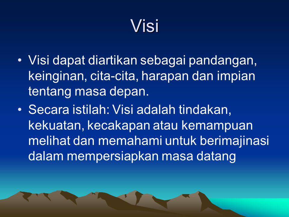 Visi Visi dapat diartikan sebagai pandangan, keinginan, cita-cita, harapan dan impian tentang masa depan. Secara istilah: Visi adalah tindakan, kekuat