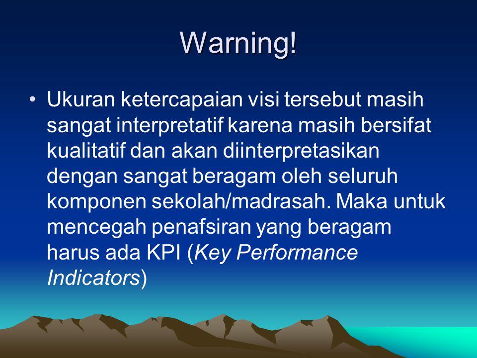 Warning! Ukuran ketercapaian visi tersebut masih sangat interpretatif karena masih bersifat kualitatif dan akan diinterpretasikan dengan sangat beraga