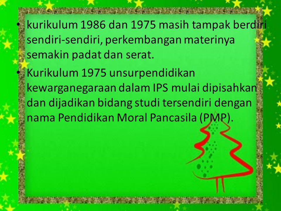 kurikulum 1986 dan 1975 masih tampak berdiri sendiri-sendiri, perkembangan materinya semakin padat dan serat. Kurikulum 1975 unsurpendidikan kewargane