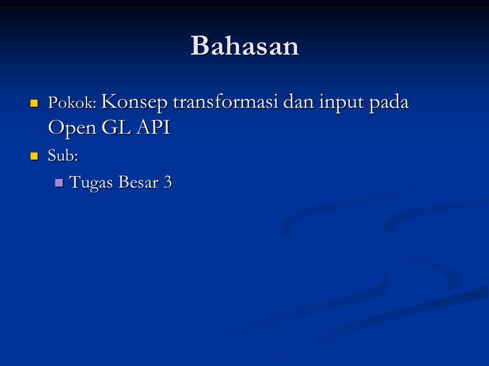 Bahasan Pokok: Konsep transformasi dan input pada Open GL API Pokok: Konsep transformasi dan input pada Open GL API Sub: Sub: Tugas Besar 3 Tugas Besa