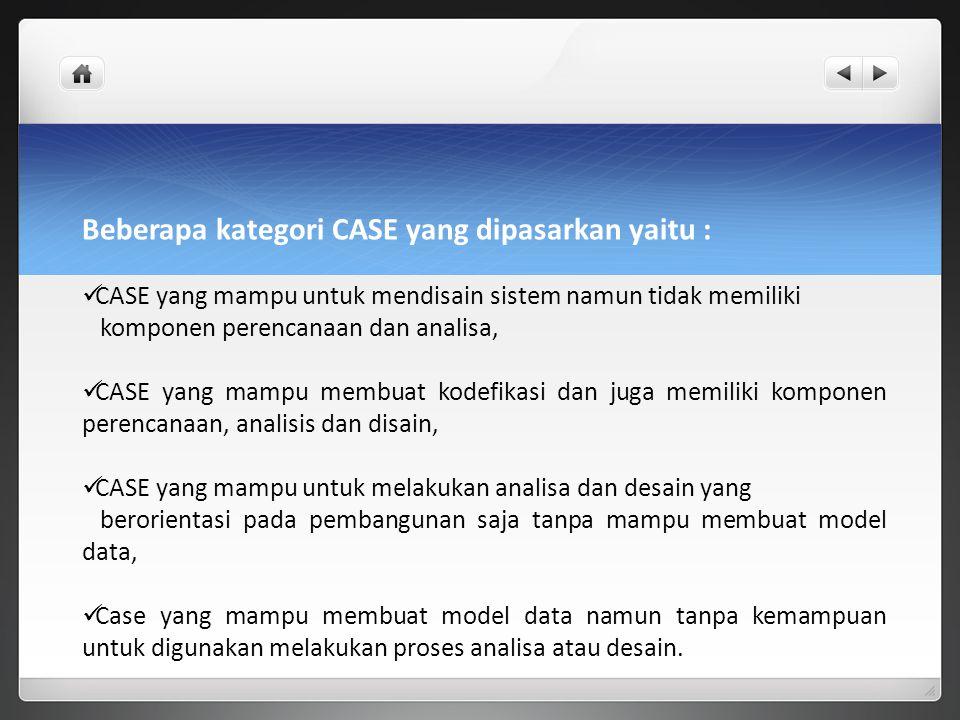 Beberapa kategori CASE yang dipasarkan yaitu : CASE yang mampu untuk mendisain sistem namun tidak memiliki komponen perencanaan dan analisa, CASE yang