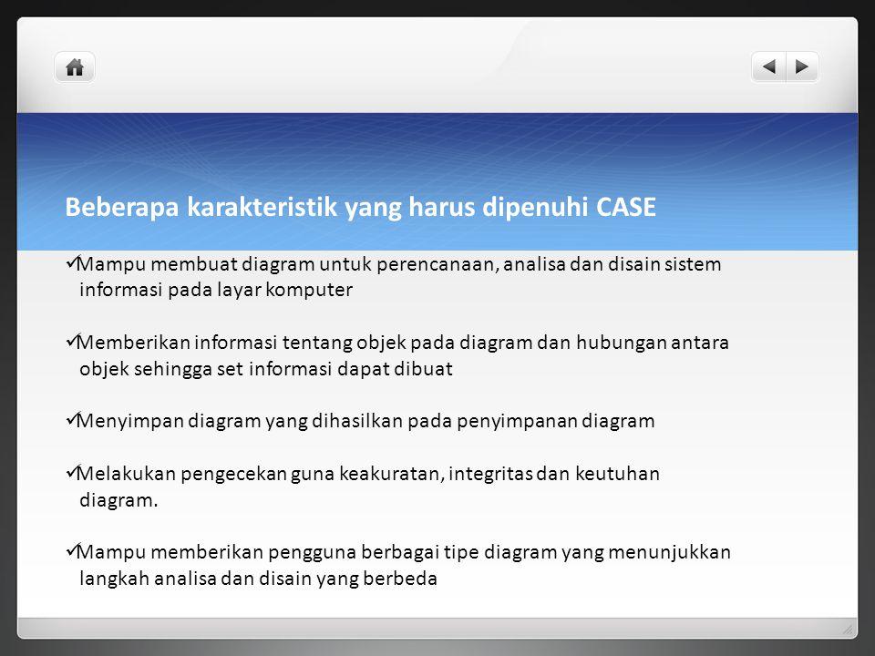 Beberapa karakteristik yang harus dipenuhi CASE Mampu membuat diagram untuk perencanaan, analisa dan disain sistem informasi pada layar komputer Membe