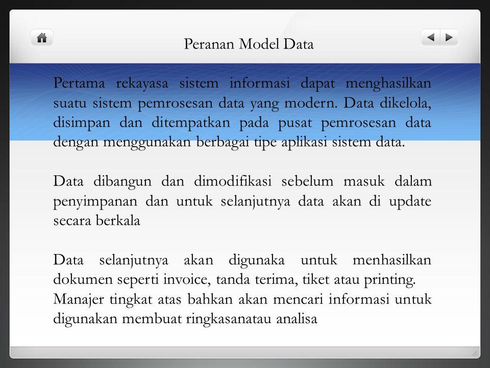 Peranan Model Data Pertama rekayasa sistem informasi dapat menghasilkan suatu sistem pemrosesan data yang modern. Data dikelola, disimpan dan ditempat