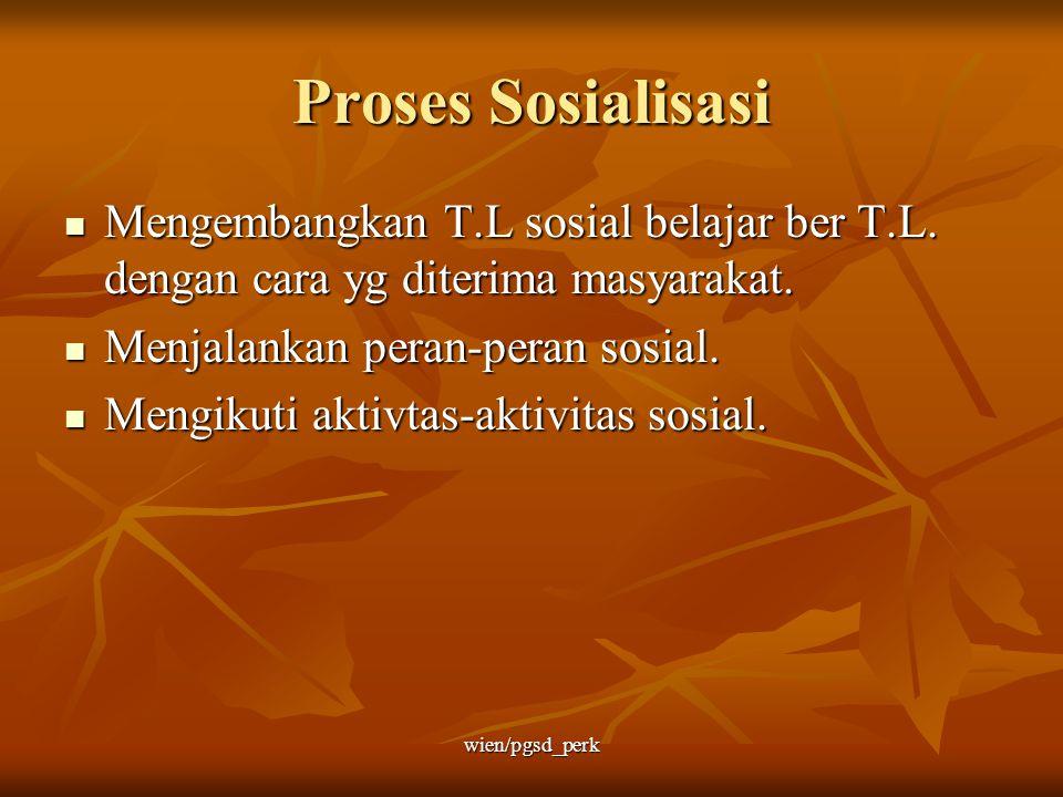 Proses Sosialisasi Mengembangkan T.L sosial belajar ber T.L. dengan cara yg diterima masyarakat. Mengembangkan T.L sosial belajar ber T.L. dengan cara