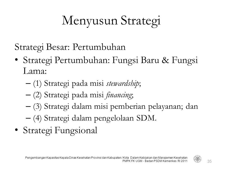 Pengembangan Kapasitas Kepala Dinas Kesehatan Provinsi dan Kabupaten / Kota Dalam Kebijakan dan Manajemen Kesehatan PMPK FK UGM - Badan PSDM Kemenkes RI 2011 Menyusun Strategi Strategi Besar: Pertumbuhan Strategi Pertumbuhan: Fungsi Baru & Fungsi Lama: – (1) Strategi pada misi stewardship; – (2) Strategi pada misi financing; – (3) Strategi dalam misi pemberian pelayanan; dan – (4) Strategi dalam pengelolaan SDM.