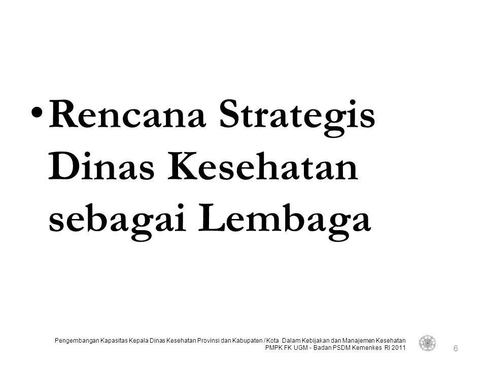 Pengembangan Kapasitas Kepala Dinas Kesehatan Provinsi dan Kabupaten / Kota Dalam Kebijakan dan Manajemen Kesehatan PMPK FK UGM - Badan PSDM Kemenkes RI 2011 STRATEGIC MOMENTUM Aksi/Tindakan Manajerial Strategi Evaluasi Emergent Learning Re-initiate Strategic Thinking STRATEGIC MOMENTUM Aksi/Tindakan Manajerial Strategi Evaluasi Emergent Learning Re-initiate Strategic Thinking STRATEGIC PLANNING Situational Analysis Analisis Eksternal Analisis Internal Arahan Strategi Perumusan Strategi Rencana Implementasi Strategi pemberian pelayanan Strategi pendukung Rencana aksi STRATEGIC PLANNING Situational Analysis Analisis Eksternal Analisis Internal Arahan Strategi Perumusan Strategi Rencana Implementasi Strategi pemberian pelayanan Strategi pendukung Rencana aksi STRATEGIC THINKING Orientasi eksternal Analisis Data Menantang Asumsi2 Ciptakan ide-ide baru STRATEGIC THINKING Orientasi eksternal Analisis Data Menantang Asumsi2 Ciptakan ide-ide baru Lingkungan Eksternal 7