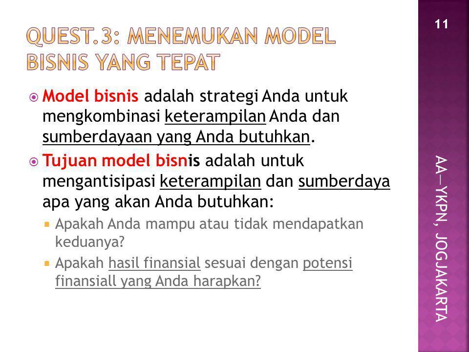 AA—YKPN, JOGJAKARTA  Model bisnis adalah strategi Anda untuk mengkombinasi keterampilan Anda dan sumberdayaan yang Anda butuhkan.  Tujuan model bisn