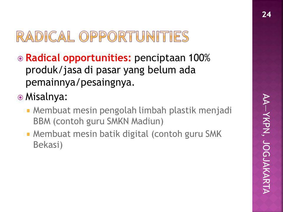 AA—YKPN, JOGJAKARTA  Radical opportunities: penciptaan 100% produk/jasa di pasar yang belum ada pemainnya/pesaingnya.  Misalnya:  Membuat mesin pen