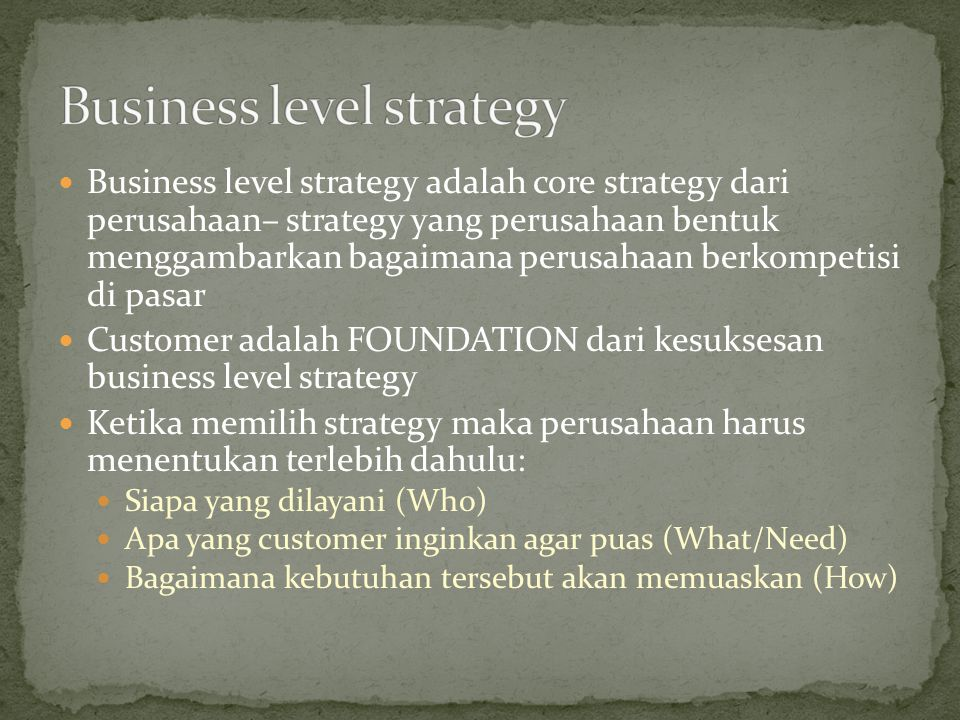 Target yang dituju tidaklah segment yang terfokus namun juga tidak seluas keseluruhan segment yang industri layani.
