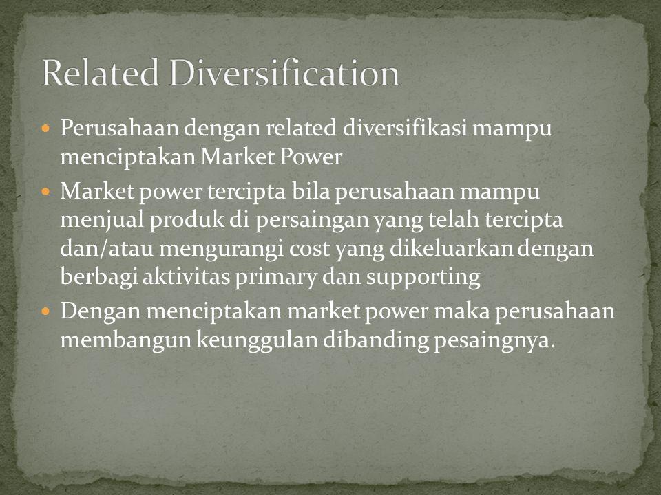 Perusahaan dengan related diversifikasi mampu menciptakan Market Power Market power tercipta bila perusahaan mampu menjual produk di persaingan yang telah tercipta dan/atau mengurangi cost yang dikeluarkan dengan berbagi aktivitas primary dan supporting Dengan menciptakan market power maka perusahaan membangun keunggulan dibanding pesaingnya.