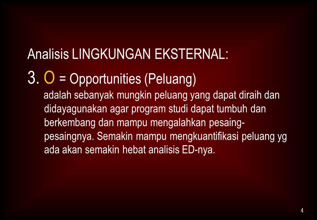 Analisis LINGKUNGAN EKSTERNAL: 3. O = Opportunities (Peluang) adalah sebanyak mungkin peluang yang dapat diraih dan didayagunakan agar program studi d