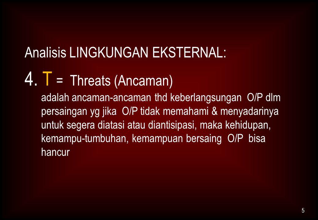 Analisis LINGKUNGAN EKSTERNAL: 4. T = Threats (Ancaman) adalah ancaman-ancaman thd keberlangsungan O/P dlm persaingan yg jika O/P tidak memahami & men